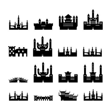 Set castles silhouette isolated on white background