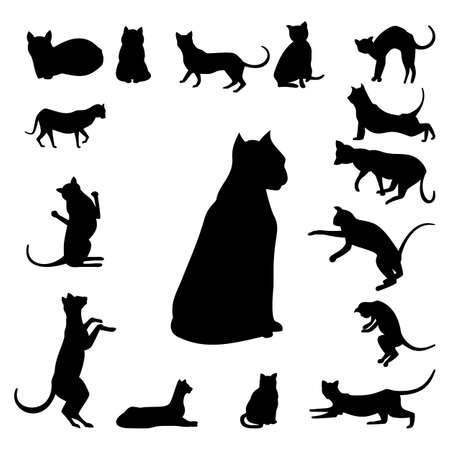 grappling: Set of cats silhouette isolated on white background