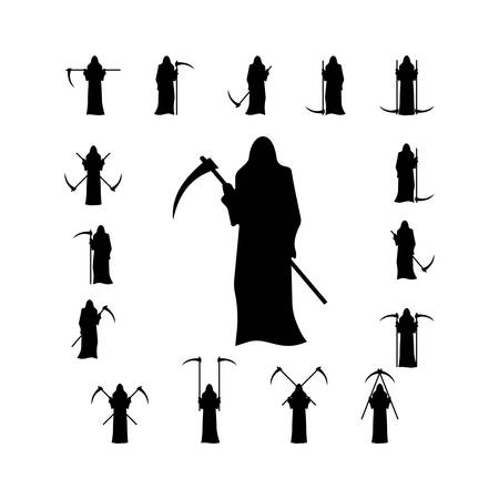 scythe: Set death with a scythe silhouette isolated on white background