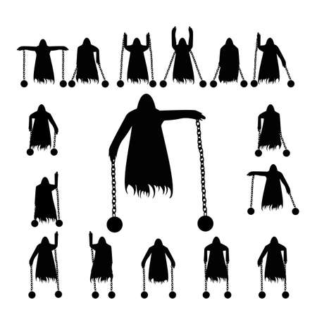 wraith: Set flying ghost clad in chain silhouette isolated on a white background Illustration