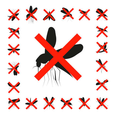 dipterus: Set mosquito crossed icon isolated on a white background