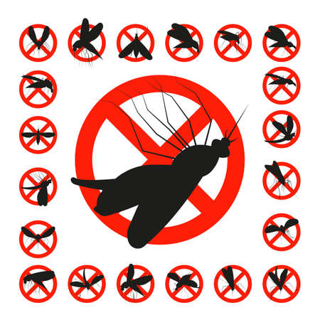 Set mosquito danger zone icon isolated on a white background