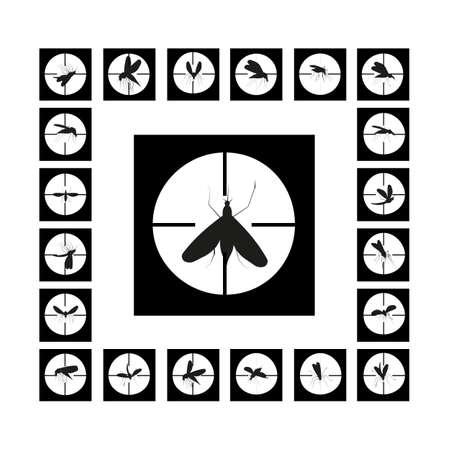 dipterus: Set mosquito gunpoint icon isolated on a white background Illustration