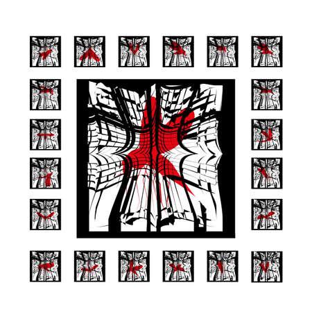 Set mosquito beats cracked window silhouette isolated on white background Illustration