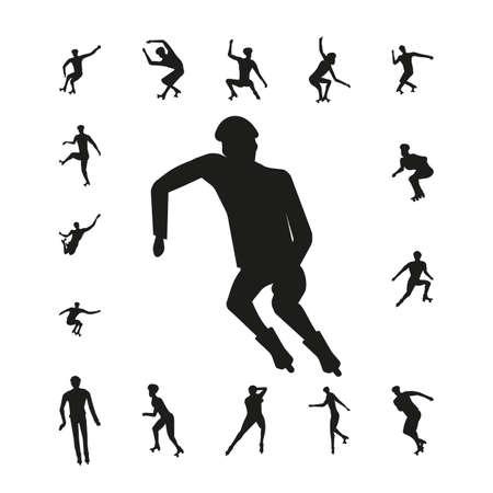 roller skates: Set people on roller skates silhouette isolated on white background