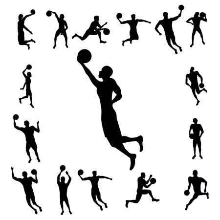 rebound: Basketball player silhouette isolated on white background. Icons basketball