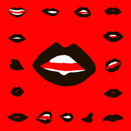 closed mouth: Set lips girl silhouette isolated on red background. Icons lips Illustration
