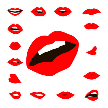 gloss: Set lips girl silhouette isolated on white background. Icons lips