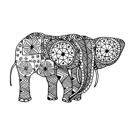 black mammoth: Elephant hand drawn doodle style and zentangl isolated on white background