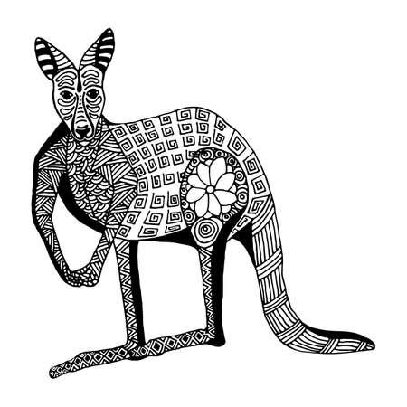 kangaroo white: Kangaroo hand draw doodle style and zentangl isolated on white background
