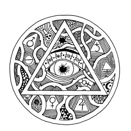 すべて見る目ピラミッド シンボル彫刻デザインのタトゥー。ヴィンテージ手描かれた自由、スピリチュアル、オカルトとメイソンはサインイン落書