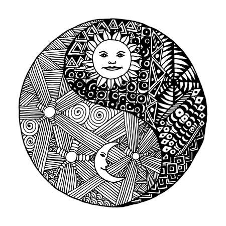 yang style: Yin yang to paint in a style doodle, zentangl, sunny day versus moon at night. on  white background Illustration