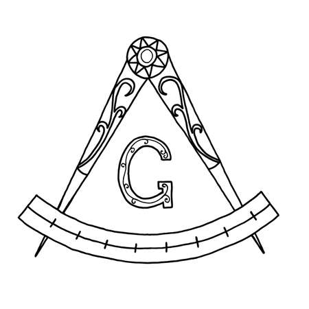 hermetic: Masonic Freemasonry Emblem Icon. Hand drawn