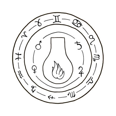hermetic: Masonic vial Emblem Icon. Hand drawn Illustration