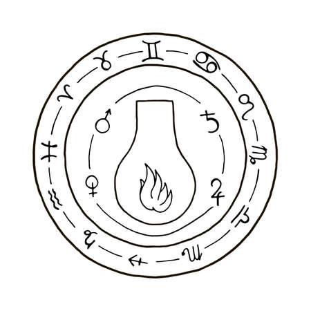 hermetic: Masonic vial Emblem Icon. Hand drawn Illustration