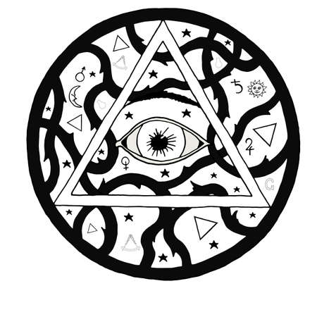 new world order: All seeing eye pyramid symbol in tattoo engraving design. Vintage hand drawn freedom, spiritual, occultism and mason sign in doodle style.  Eye of providence illustration. Illustration