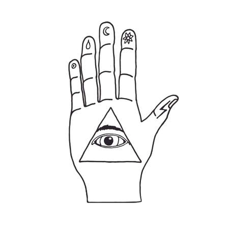 seeing: Sunburst, hand, ornaments and all seeing eye symbol. Illuminati symbols