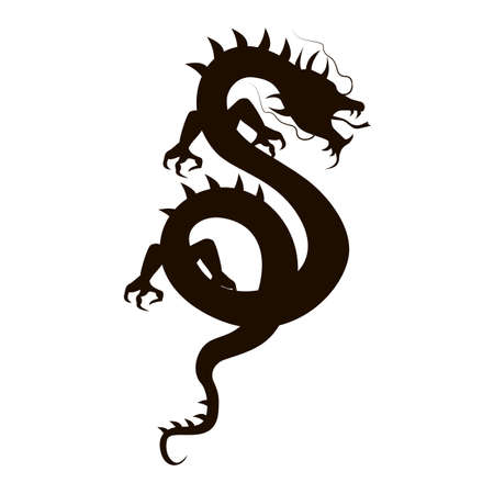 ophidian: Chinese dragon silhouette isolated on white background.