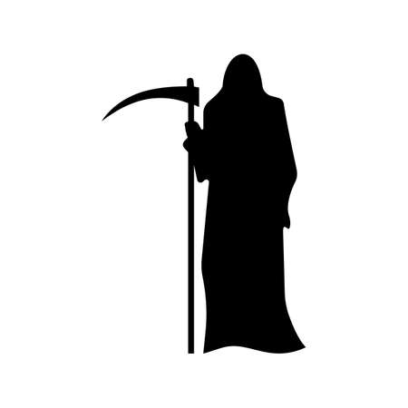 doom: Death with a scythe silhouette isolated on white background