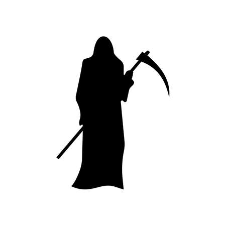 scythe: Death with a scythe silhouette isolated on white background
