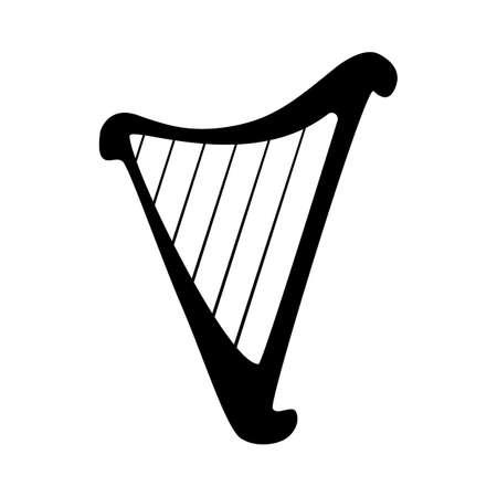 the harp: Arpa icono de la silueta aislado en el fondo blanco