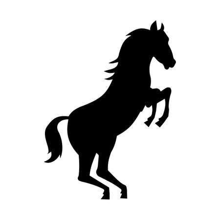 trot: Wild horse silhouette isolated on white background