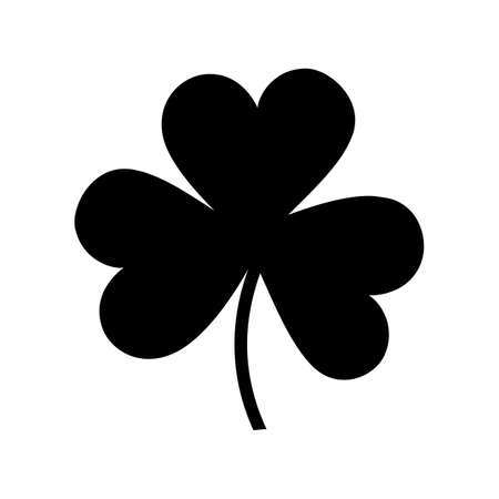 patric background: Shamrock silhouette icon isolated on white background