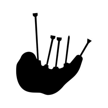 bagpipes: gaita escocesa de la silueta aislado en el fondo blanco Vectores