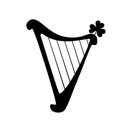 Harp shamrock silhouette isolated on white background