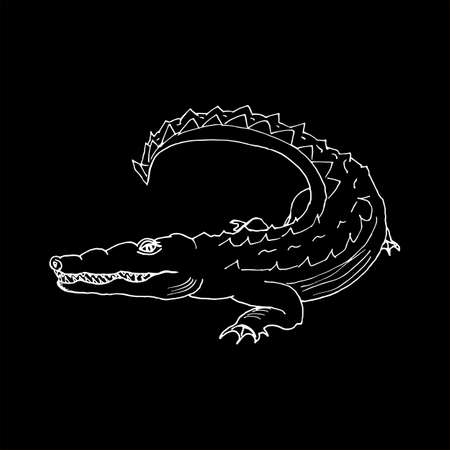 monochrome hand draw a crocodile. Illustration
