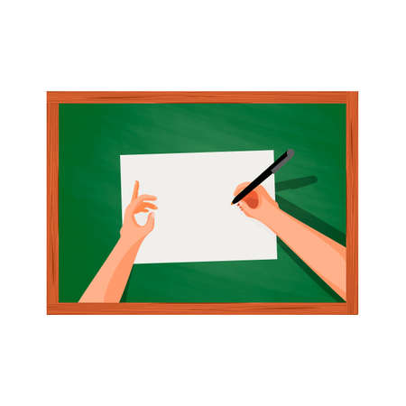 platen: Hands on the table writing on a sheet of paper, top view in the style of Cartoon and flat, isolated on a white background