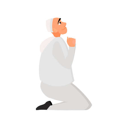 a white robe: Islamic man in a white robe praying in cartoon style flat isolated on white background