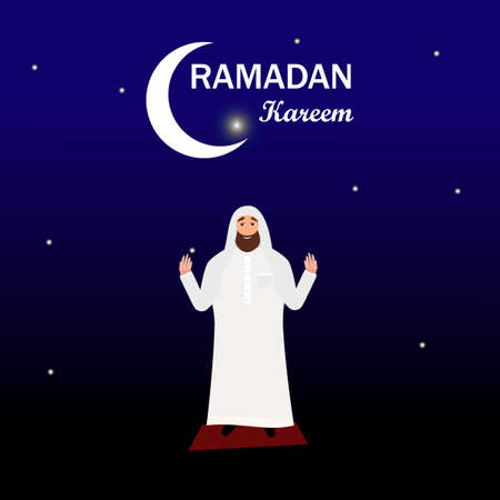 a white robe: Islamic man with beard in a white robe praying at night in cartoon style flat isolated on white background