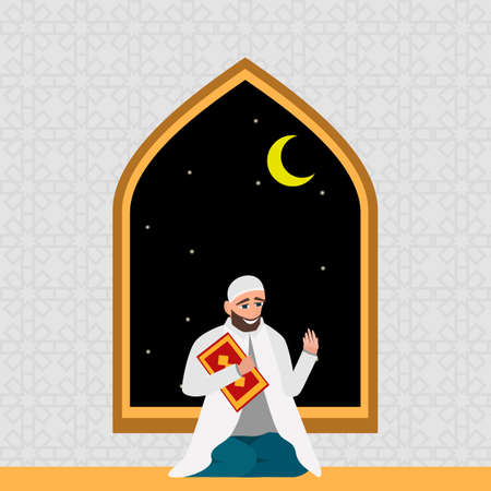 a white robe: Islamic man in a white robe with karan pray at night in cartoon style flat isolated on white background