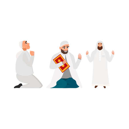 a white robe: Set islamic man in a white robe with karan pray in cartoon style flat isolated on white background Illustration