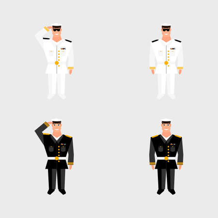 salutes: Set american military officer salutes in the background on american flag in style of cartoon and flat