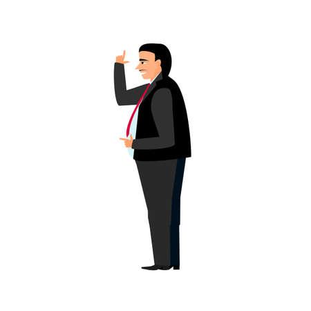 Grasso uomo d'affari capo in giacca e cravatta, con un sorriso sul suo volto nello stile di cartoni animati e piatto isolato su sfondo bianco Vettoriali