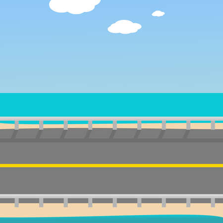 2d wallpaper: Background for the game Road to the beach, separated by layers of sky, road and sea