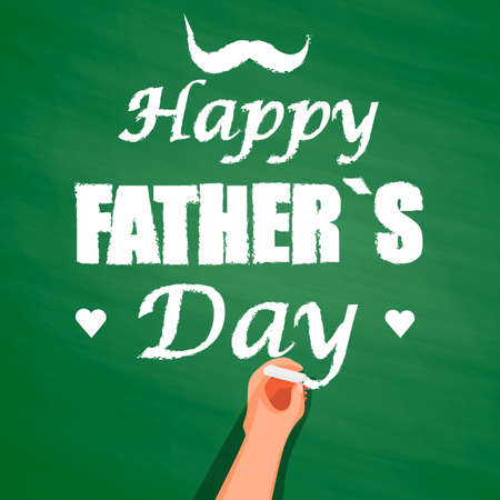 hand writing: Hand writing with chalk on a chalkboard, happy fathers day. background for holiday and birthday