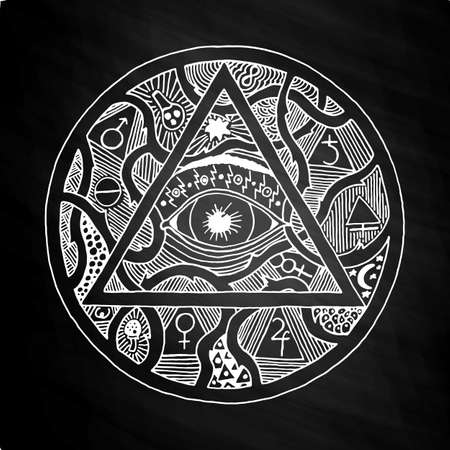 All seeing eye pyramid symbol in tattoo engraving design. Vintage hand drawn freedom, spiritual, occultism and mason sign in doodle style. Eye of providence illustration on chalkboard. Illusztráció