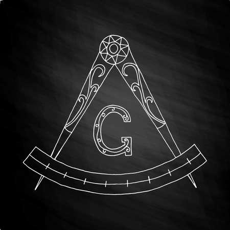 hermetic: Masonic Freemasonry Emblem Icon. Hand drawn on chalkboard