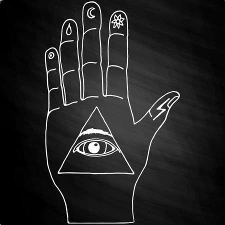 Sunburst, hand, ornaments and all seeing eye symbol. Illuminati symbols on chalkboard Illustration