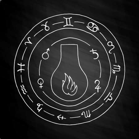 hermetic: Masonic vial Emblem Icon. Hand drawn on chalkboard Illustration
