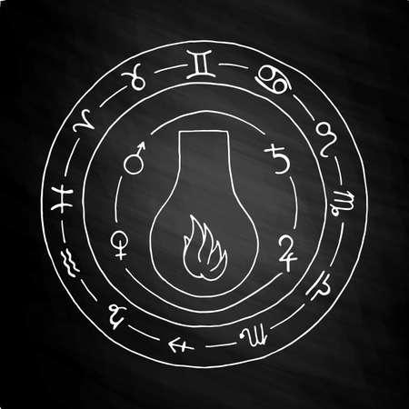 hermetic: Masonic vial Emblem Icon. Hand drawn on chalkboard Illustration