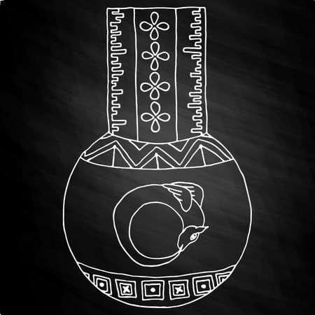 hermetic: Masonic Vial with a dragon Emblem Icon. Hand drawn on chalkboard