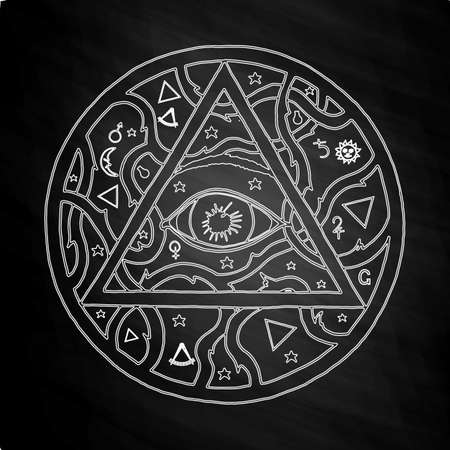 eye of providence: All seeing eye pyramid symbol in tattoo engraving design. Vintage hand drawn freedom, spiritual, occultism and mason sign in doodle style. Eye of providence illustration on chalkboard