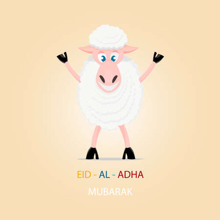 sacrificio: Ovejas de la historieta, tarjeta de felicitaci�n para el Festival isl�mica del sacrificio, Eid-al-Adha celebraci�n. Vectores
