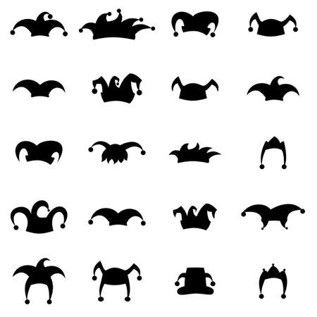 tomfool: Set caps jester silhouette isolated on white background. Hat icon set. Illustration