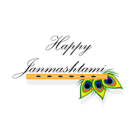 fife: bansuri with peacock feather in Janmashtami in style cartoon