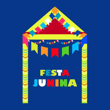 rejoicing: Festa Junina Brazil Festival. Folklore holiday. Festival fire. Vector illustration.  Festa Junina - June party.